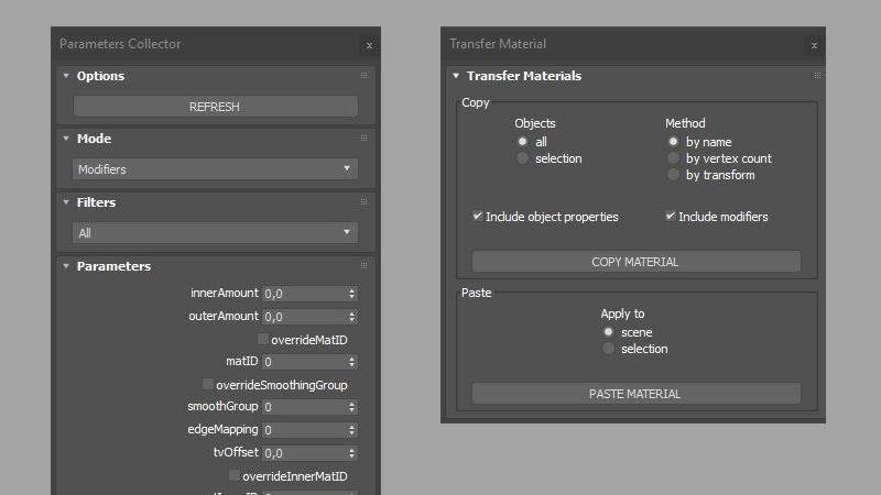 Transfer Materials and Parameter Collector scripts