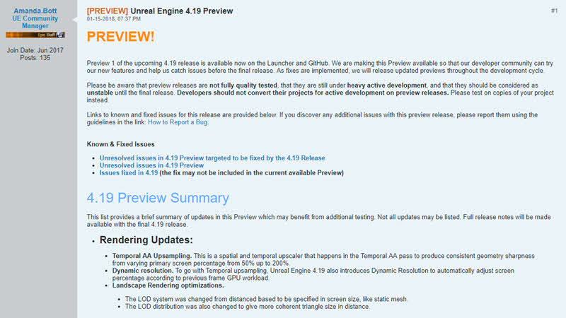 Unreal Engine 4.19 Preview 1 now available